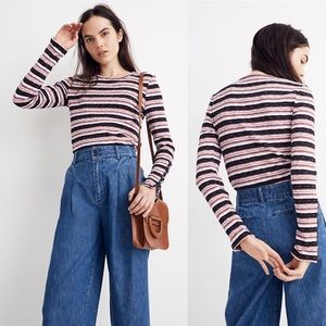 Madewell NWT Button-Sleeve Tee in Elsie Stripe